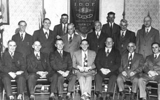 Independent Order Of Odd Fellows Lodge in Harwich, ca 1940. Top left to right: Amos Wixon, Mel Orton, Parker Rankey, Ed Hall, Jim Malloy, Tim McKenny, Horace Wixon, Ed Small. Bottom left to right: Chester Doane, Ralph Saunders, Sam Holmes, Ike Higgins, Reginald Kendall, Alton Hall, Arthur Doane. PHOTO COURTESY OF Wayne Coulson  (photo: )