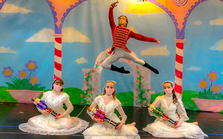 "Reaching Heart School of Ballet's three Claras – Blakeley Cullum, Cleo Donovan, Ava Ribiero – with guest artist Gustavo Candelas from the school's virtual production of ""The Nutcracker."" PHOTO COURTESY OF MELISSA HEART  (photo: )"
