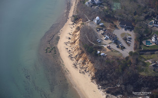 This aerial photo taken Dec. 22 shows extensive erosion of the bluff at the Monomoy National Wildlife Refuge headquarters property on Morris Island. SPENCER KENNARD PHOTO  (photo: )