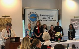 Members of Cape Cod PATH receiving the 2019 Cornerstone Award from the Barnstable County Human Rights Advisory Board. From left: Presenter Teresa Santos;  PATH Members Janice Hank,, Deborah Swiss, Doris Kapp, Lois Hirshberg, Detective Katie Parache, and Deb'orah Battles. COURTESY OF BARNSTABLE COUNTY HUMAN RIGHTS ADVISORY COMMISSION  (photo: )