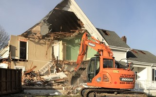 Heavy machinery quickly reduced the Holy Trinity Church annex building to rubble last Wednesday. TERRI ADAMSONS PHOTO  (photo: Terri Adamsons)