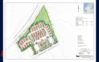 In this conceptual plan by landscape architect Bart Lipinski of Grady Consulting, the Governor Prence property shows a mix of uses: commercial/office space with apartments above in buildings along Route 6A and cottage homes back toward the Cape Cod Rail Trail. Other concepts include an all-residential layout and one that would show a community center or library and housing. GRADY CONSULTING  (photo: )