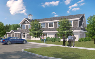 An architect's rendering of the building, viewed from the entrance off Main Street, showing the side that faces Ocean State Job Lot.   COURTESY PHOTO    (photo: BH+A Architects)