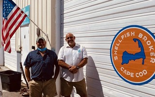 Jamie Bassett, left, and Matt Belson, founders of Shellfish Brokers. The South Chatham company is launching a community supported aquaculture program, delivering fresh oysters to residents of greater Boston and the Cape. COURTESY PHOTO 