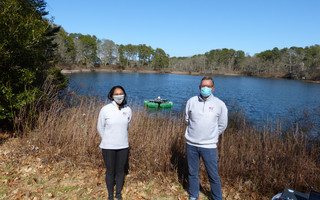 Drs. Maha Haji and Olivier de Weck on Deep Pond with PEARL.  ED MARONEY PHOTO  (photo: Ed Maroney)