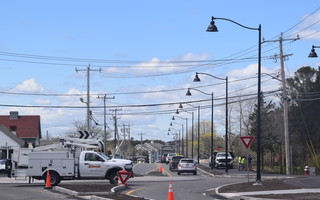 New lighting recently went up along the revamped West Chatham corridor. Final paving of the redesigned section of Route 28 is expected to happen the week of May 17, and the entire project could be completed in June. TIM WOOD PHOTO  (photo: )