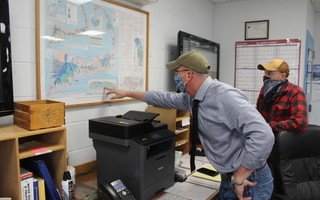 Brewster Water Department Superintendent Paul Anderson and Harwich Water and Wastewater Superintendent Dan Pelletier examine a map of the Monomoy Lens at the Harwich Water Department last Friday. WILLIAM F. GALVIN PHOTO  (photo: )