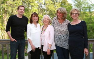 John Searles, Anne LeClaire, Dr. Susan McGee Bailey, Jane Green and Anita Diamant at LeClaire's Chatham home for dinner the night before the W3 event. KIM RODERIQUES PHOTO  (photo: )