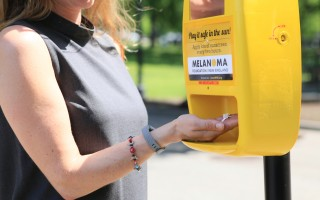 Sunscreen dispensers like this one will soon be installed in Chatham, Harwich, Orleans and Brewster.  MFNE PHOTO  (photo: Courtesy photo)