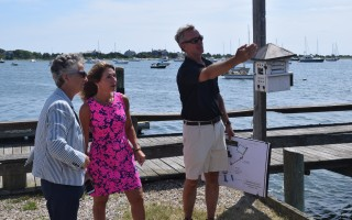 Coastal Resources Director Ted Keon points out planned improvements to Old Mill Boatyard to Lt. Governor Karyn Polito, center, and Rep. Sarah Peake. TIM WOOD PHOTO  (photo: )