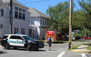 The Harwich Police Department blocked off Harwich Center on Tuesday for an hour while Fire Department personnel waited for National Grid personnel to come and address a major gas leak there. Personnel from town hall and the Albro House were evacuated. WILLIAM F. GALVIN PHOTO  (photo: )