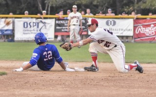 Harwich's Johnny Adams is just a little too late in his attempted tag of Chatham's Jeremy Vasquez in game three. Kat Szmit Photo  (photo: Kat Szmit)