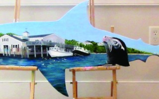 This shark, painted by Tilda Bystrom and sponsored by the Cape Cod Five Bank, was stolen over the weekend but recovered nearby. A second shark was also stolen from the lawn of the Eldredge Library and recovered, but a third taken a few weeks ago remains missing. FILE PHOTO  (photo: )
