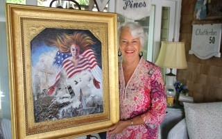 "Artist Pamela Chatterton-Purdy shows her work, ""These Bones Shall Live."" It, and other paintings in the series, are on display this month at the Cape Cod Art Association in Barnstable village. ALAN POLLOCK PHOTO  (photo: Alan Pollock)"