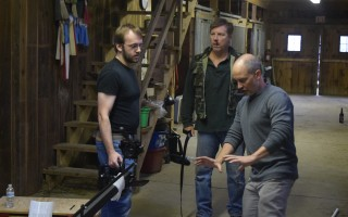 Paul Schuyler, right, sets up a shot with director of photographer Geoff Bassett, left, and Steve Ross, who plays the villain. TIM WOOD PHOTO  (photo: )