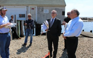 David Daks (right) and his attorney Neal B. Glick discussed the former Lucas fish house reconstruction project last May during a state Department of Environmental Protection onsite regarding the superseding order of conditions with Mark N. Bartow of the bureau of resource protection.  FILE PHOTO  (photo: William F. Galvin)