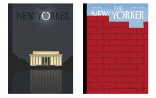 Chatham illustrator Bob Staake's New Yorker covers for the issue following the election of President Obama, left, and last week's cover following the election of Donald Trump.  (photo: )