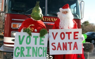 With the latest North Poll showing a tighter-than-expected race, Santa Claus and the Grinch are competing for Chatham's votes this season. To cast your ballot, bring a new, unwrapped toy to the Chatham Fire Department before the holidays for the department's annual Santa's Workshop campaign.   (photo: Alan Pollock)