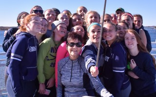 Cheryl Poore, head of the field hockey programs at Harwich and Monomoy high schools, seen here with her 2015 team en route to Martha's Vineyard, tendered her resignation this week after 46 years at the helm. Kat Szmit Photo  (photo: Kat Szmit)