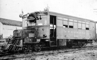 In 1930, as a result of declining passenger use, the Chatham Railroad stopped the use of the steam engine for passenger service and substituted this gasoline engine car. In two years, this too was stopped and by 1937 all rail service ceased.  (photo: )