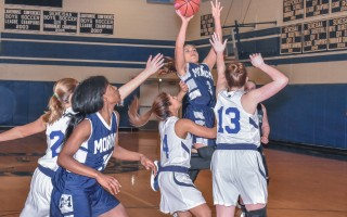 Monomoy's Lexi Roma (3) soars above the Seahawks for two points during game play at Cape Cod Academy last Thursday. Kat Szmit Photo  (photo: Kat Szmit)