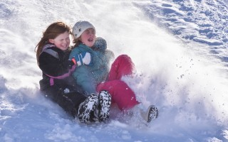 Sledding at Cape Tech. KAT SZMIT PHOTO 