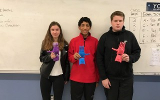Mr. Breski's foundations of technology class designed prosthetic hands. The class has completed three prosthetic hands that they will sending to the Prosthetic Hand Challenge to be used to provide hands for children who lost or were born without a hand. Pictured above, from left,  Christiana Fontaine, David Malone and Joseph DeMango   (photo: )