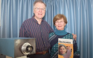 Dr. Michael Tompsett invented the world's first digital camera, shown at left, and took the first color digital photo of his wife, Dr. Margaret Tompsett, which was published on cover of Electronics Magazine in 1973. TIM WOOD PHOTO  (photo: )