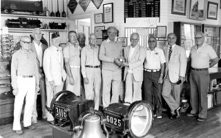 Railroad Museum Committee receive a watch donation of engineer William L. Drew. From left to right John Humphries, Robert Price, Rudy Vysick, Art Villepique, Walter Cabot, Vernon Helming, chairman W. R. Main, William L. Drew III, Harrison T. Drew, John A. Drew (grandsons of the engineer) and Ralph Lightfoot. 1981 FILE PHOTO  (photo: )