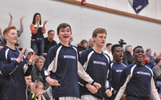 Members of the Monomoy boys basketball team cheer on their teammates as they play to a 64-40 victory against Southeastern Regional in the MIAA Div. 4 South tournament. Kat Szmit Photo  (photo: )