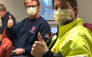 Chatham firefighters breathe into surgical masks as part of a new cancer screening program. The masks were sent to CancerDogs, a program in Canada that uses trained dogs to sniff out cancer cells captured in the masks. COURTESY PHOTO  (photo: )