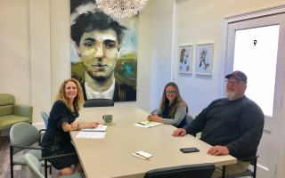 Arts Foundation of Cape Cod Executive Director Julie Wake, left with Cape Cod Fishermen's Alliance Development Assistant Ellie Leaning and CEO John Pappalardo. The two groups are collaborating on an artist in residency program to help tell the story of local fishermen. COURTESY PHOTO  (photo: )