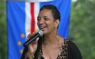 Cape Verde International singer Candida Rose performing at Brooks Park on Saturday.  WILLIAM F. GALVIN PHOTO  (photo: William F. Galvin)
