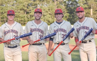 Jacob Billingsley, Brad Debo, Tyler Baum, and Max Burt show off their custom-made Barnstable Bat Company bats commemorating their respective awards. Kat Szmit Photo 