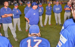 Chatham head coach John Schiffner shares final thoughts with his 2017 squad after his last game with the Anglers. Kat Szmit Photo 