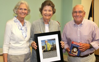 Martha Stone (center) received the Captain's Award from the Friends of Chatham Waterways' Barbara Cotnam and Frank Messina. ALAN POLLOCK PHOTO  (photo: Alan Pollock)