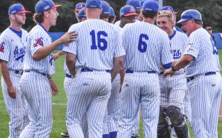 Former Chatham Anglers Head Coach John Schiffner, far right, celebrates with 2017 team members as the end of his last season approaches. Kat Szmit Photo  (photo: )