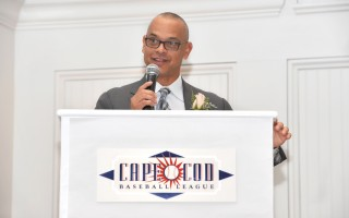 Joey Cora, a former Chatham A, shares his sentiments with those attending the traditional Hall of Fame brunch for the Cape Cod Baseball League on Nov. 18. SportsPix Photo 