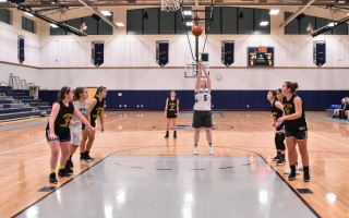 Monomoy senior captain Maddie Leonard (5) shoots a free throw during her team's scrimmage against Mt. Everett on Dec. 1. Kat Szmit Photo 
