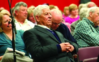 James Marceline listens attentively to debate during the 2014 annual town meeting.  FILE PHOTO  (photo: William F. Galvin)