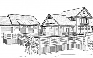 An architect's rendering of the proposed harbormaster office (right) and the snack shack (left). COURTESY PHOTO  (photo: )