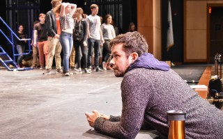 "Broadway actor Robi Hager watches a recent rehearsal of the Monomoy spring musical ""All Shook Up,"" during which he offered insight and advice to the cast.  KAT SZMIT PHOTO  (photo: Kat Szmit)"