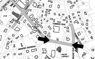 Arrows point to the area of Main Street where digging will begin March 5 for the downtown sewer collection system. Work in the entire area marked in light gray is expected to be completed before Memorial Day. ORLEANS DPW GRAPHIC  (photo: )