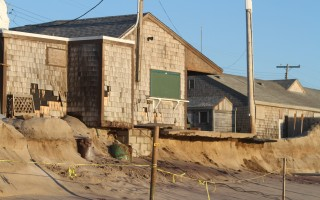 Liam's Snack Shack hangs over an eroding cliff at Nauset Beach.  The photo was taken on the morning of Friday, March 9.  ALAN POLLOCK PHOTO  (photo: Alan Pollock)