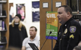 Chatham Police Sergeant William Massey, also a school and community resource officer, speaks to families attending the March 21 Parent University, the focus of which was school safety. Kat Szmit Photo  (photo: Kat Szmit)