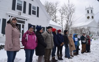 Members of Lower Cape Indivisible stood outside the Chatham Town Offices in solidarity with students around the country who walked out of classrooms to honor the 17 students and teachers killed at Marjory Stoneman Doulgas High School in Parkland, Fla., Feb. 14. While students across the nation participated in the walk out, local schools had a snow day. TIM WOOD PHOTO  (photo: )