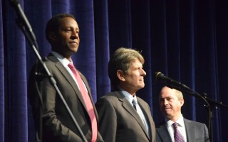The three Democratic candidates for governor at Monday's debate at Monomoy Regional High School. From left, Setti Warren, Bob Massie and Jay Gonzalez. TIM WOOD PHOTO  (photo: )