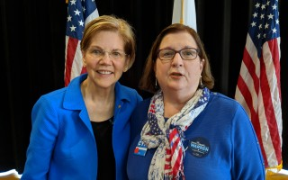 Massachusetts Senator Elizabeth Warren and Cynthia Bayerl of Harwich at Cape Cod Tech on Saturday. Warren led a panel discussion on opioid addiction and spoke about a bill she has sponsored to help local communities fight the epidemic. COURTESY PHOTO  (photo: )
