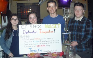 The Nauset/Cape Cod Tech Destination Imagination team (Tori Schi, Kaia Howard, Michael Sanborn, and Chris Griffin) fundraising at Guapo's restaurant in Orleans. BENJAMIN THOMAS PHOTO  (photo: Benjamin Thomas)