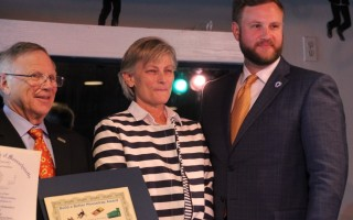 Carol Hayward (center) of Talking Threads Custom Embroidery is flanked by a fellow award winner and State Senator Julian Cyr (right). COURTESY PHOTO  (photo: Courtesy photo)